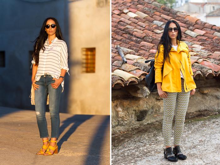 Prendas color amarillo tendencia abrigo chaqeuton y zapatos