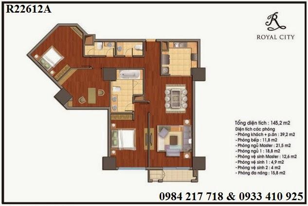 Mua bán căn hộ chung cư Royal City, căn hộ R22612A với thiết kế 3 phòng ngủ diện tích 145.2 m2