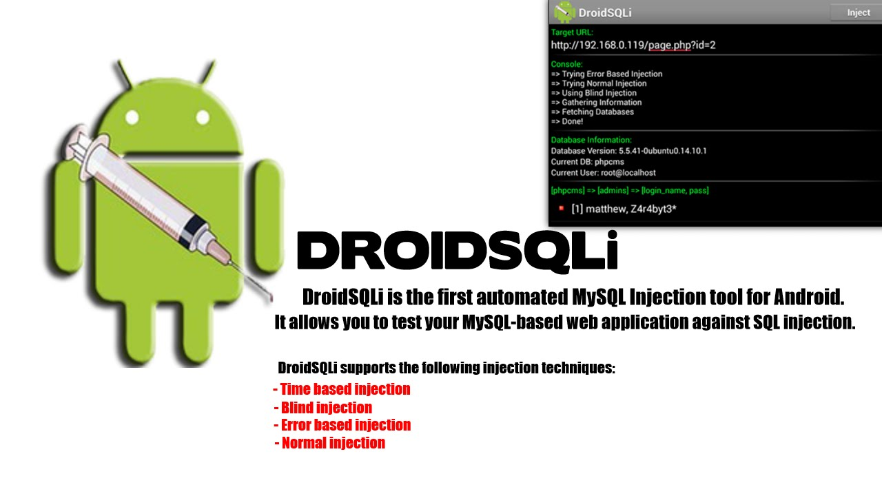 Hacking tools and tutorials droidsqli for android automated sql automated sql injection tool welcome today i am going to give a full tutorial on how to use droidsqli for android and perform test on vulnerable websites baditri Gallery