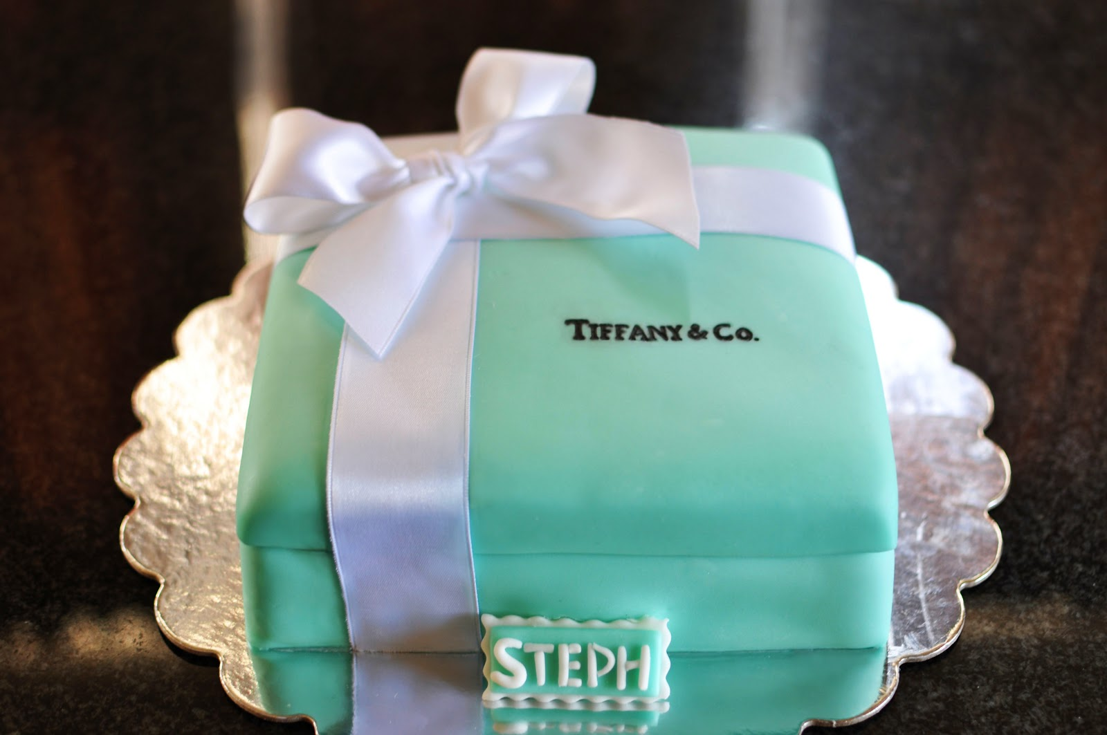 Tiffany gift box cake sweet kats creations to start i baked two 8 square cakes and cut the sides to make the corners sharper negle Choice Image