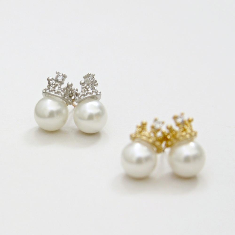 me crown tiara sea shell pearl earrings