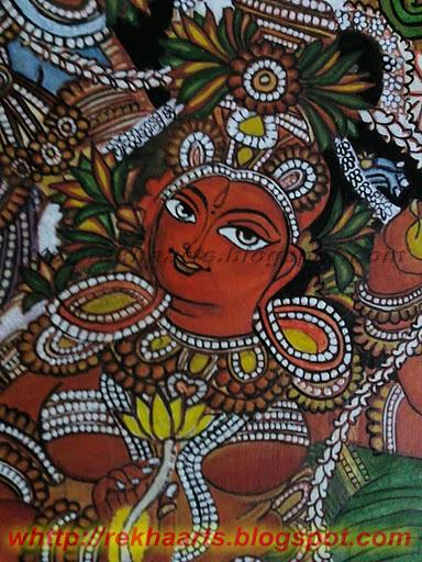 Arts and crafts my fisrt kerala mural radha krishna mural for Mural radha krishna