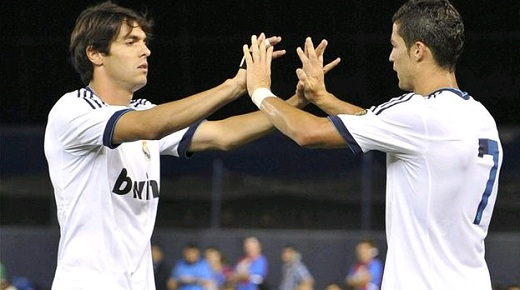 Kaka and Cristiano Ronaldo celebrate a goal of Real Madrid
