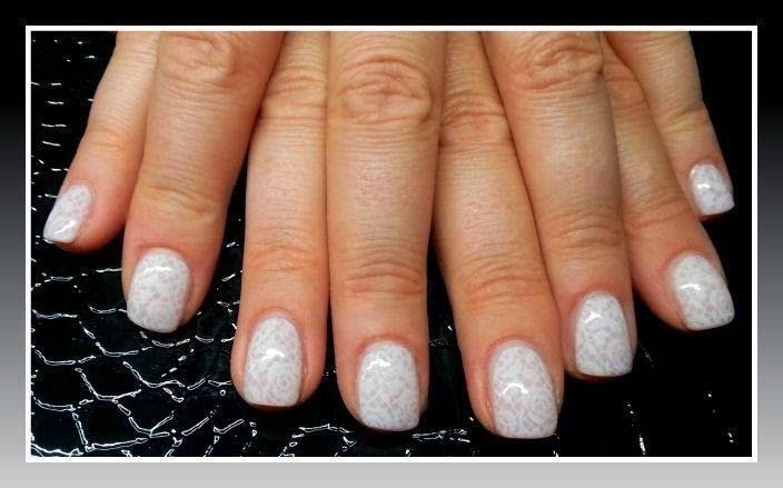 LED polish manicure + white self color stamping nail art