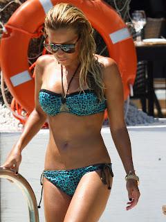 Sylvie van der Vaart bright blue bikini