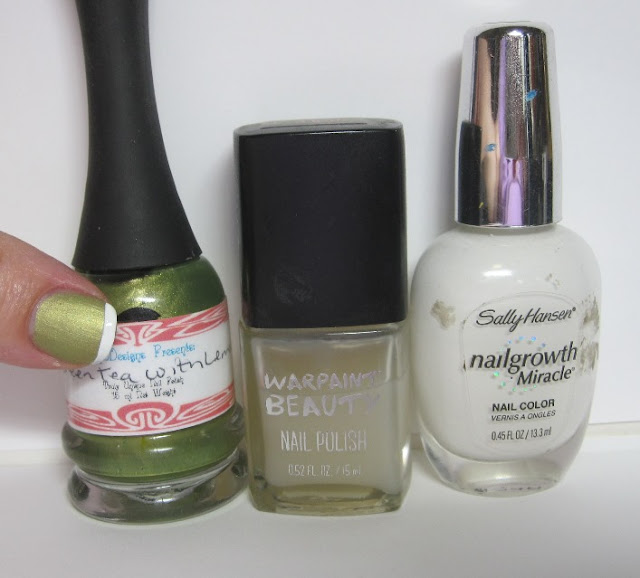 Bottle shot:  LynBDesigns Green Tea With Lemon, Warpaint Beauty Matte topcoat, and Sally Hansen White Tip