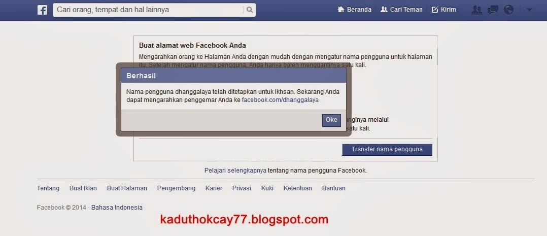 perubahan nama username halaman facebook