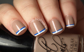 Blue and White French Tip
