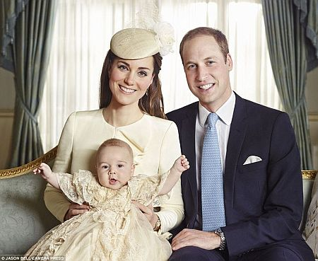pretty Royal Family portrait after Prince George Christening with Catherine Middleton and Prince William