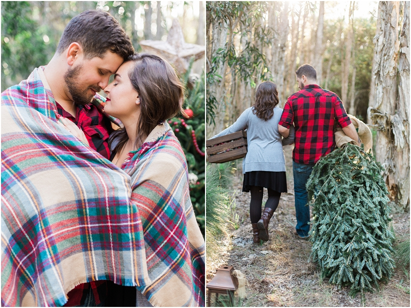 Christmas tree farm engagement photosv