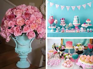 decoração casamento azul e rosa