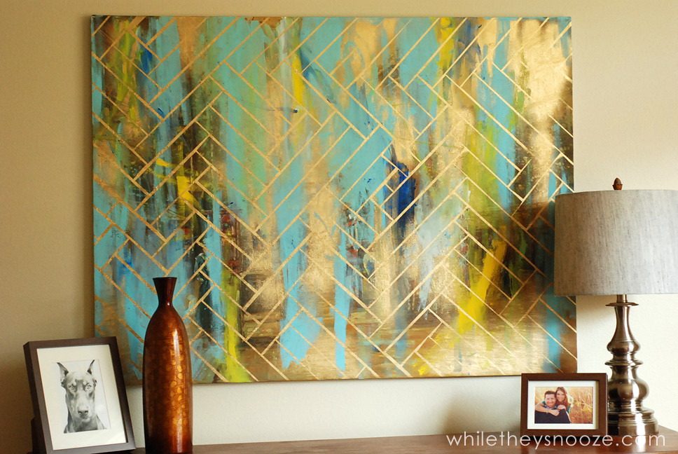 While they snooze diy herringbone metallic artwork easy for Diy paint