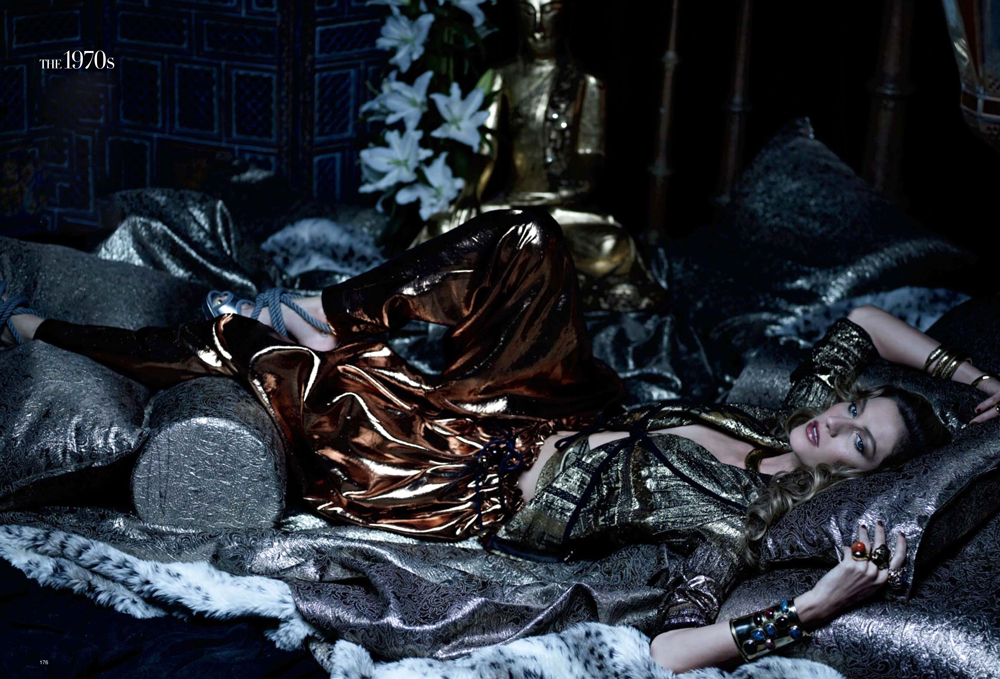 Gisele Bundchen posing as Jerry Hall in YSL Opium perfume ad campaign from the past photographed by Peter Lindbergh and styled by Katie Mossman for Gisele: supermodel muse / Harper's Bazaar US April 2009 via fashioned by love british fashion blog