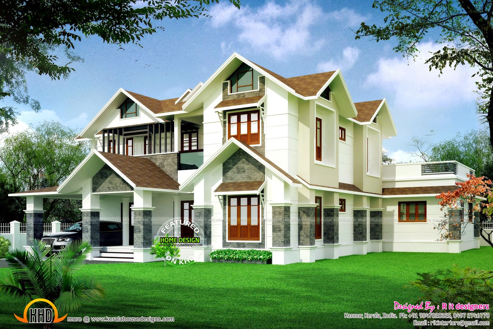 Beautiful sloped roof villa kerala home design and floor for Sloped roof house plans in india