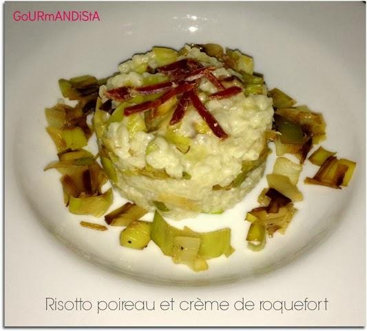 image Risotto aux poireaux et crème de roquefort