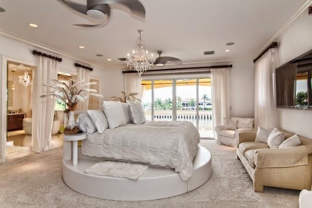 Luxury Bedroom Ideas Furnishings White Round Pedestal Crystal Chandelier
