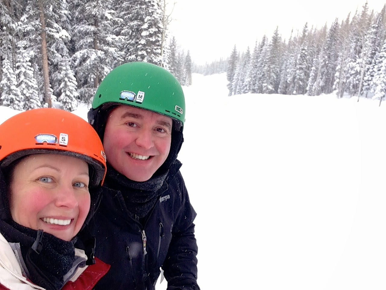 Kate and Brian on the slopes in Powderhorn