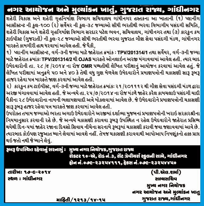 Planning Assistant & Clerk Cum Typist Document Verification Schedule