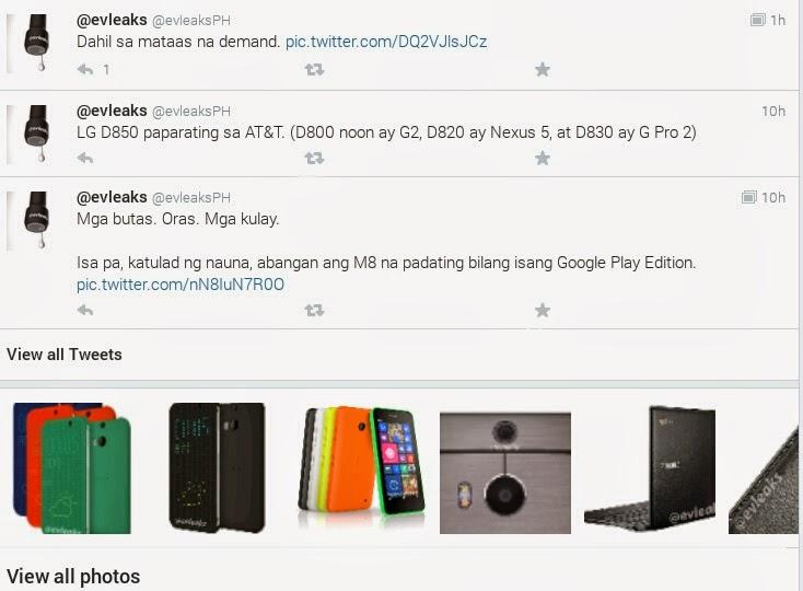 evleaks tweeting in filipino