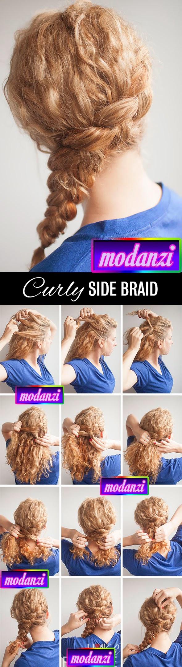 Kıvırcık Yan Örgü Saç Modeli Nasıl Yapılır ? (Resimli Anlatım)