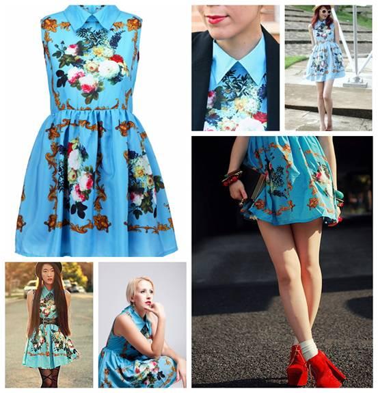 romwe, street style, retro print blue dress