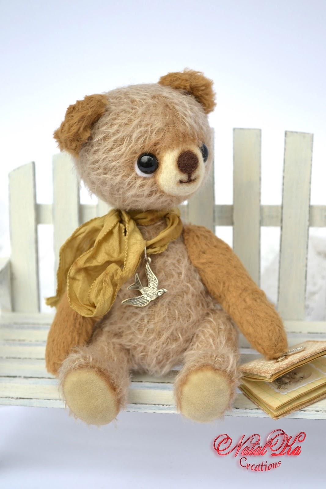 Künstlerbär Bär Teddybär Teddy handgemacht in vintage Look von NatalKa Creations. Artist teddy bear handmade in vintage look by NatalKa Creations