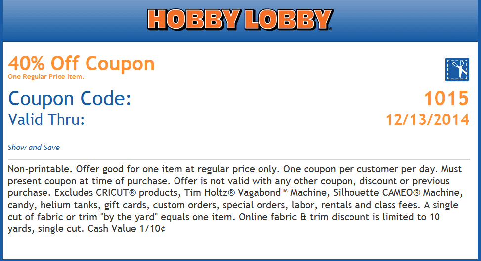 Details: Receive a weekly Hobby Lobby coupon by signing up at the top of the homepage.