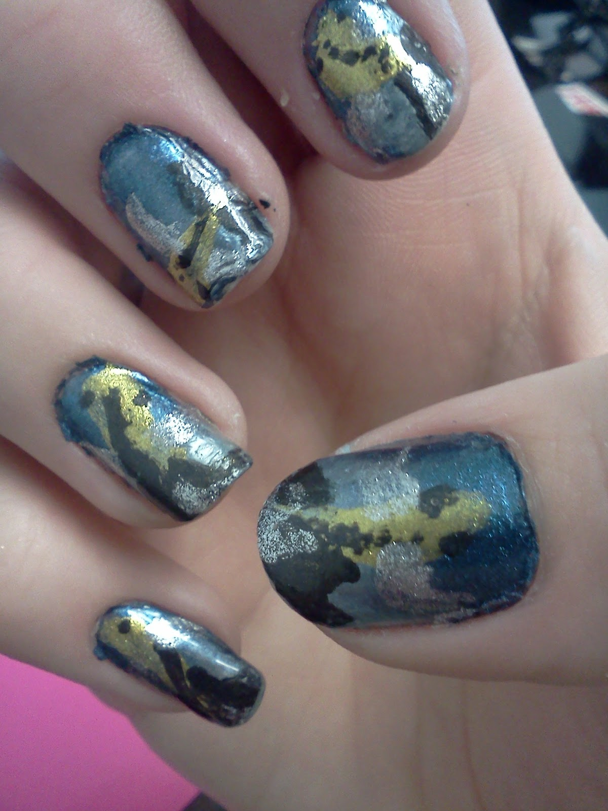 A touch of polish by jennifer silver gold and black koi for Black and gold koi fish