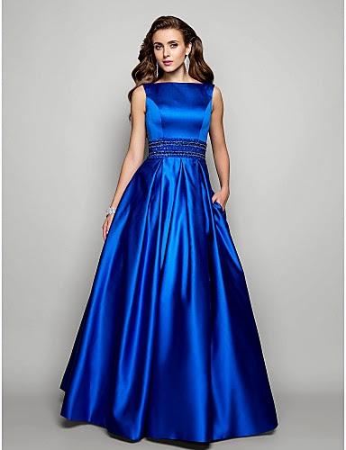 Vestido de Noche de Satén Azul