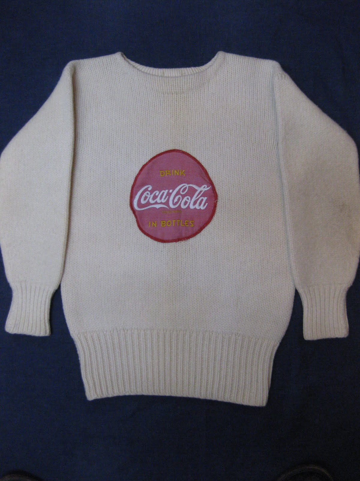 画像①                 40's HEAVY WOOL KNIT                WITH  「DRINK COCA-COLA」  PATCH
