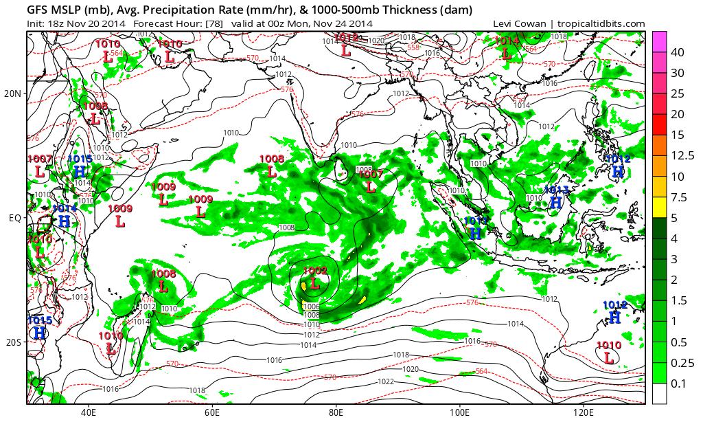Prévisions pour les précipitations (en vert) pour lundi