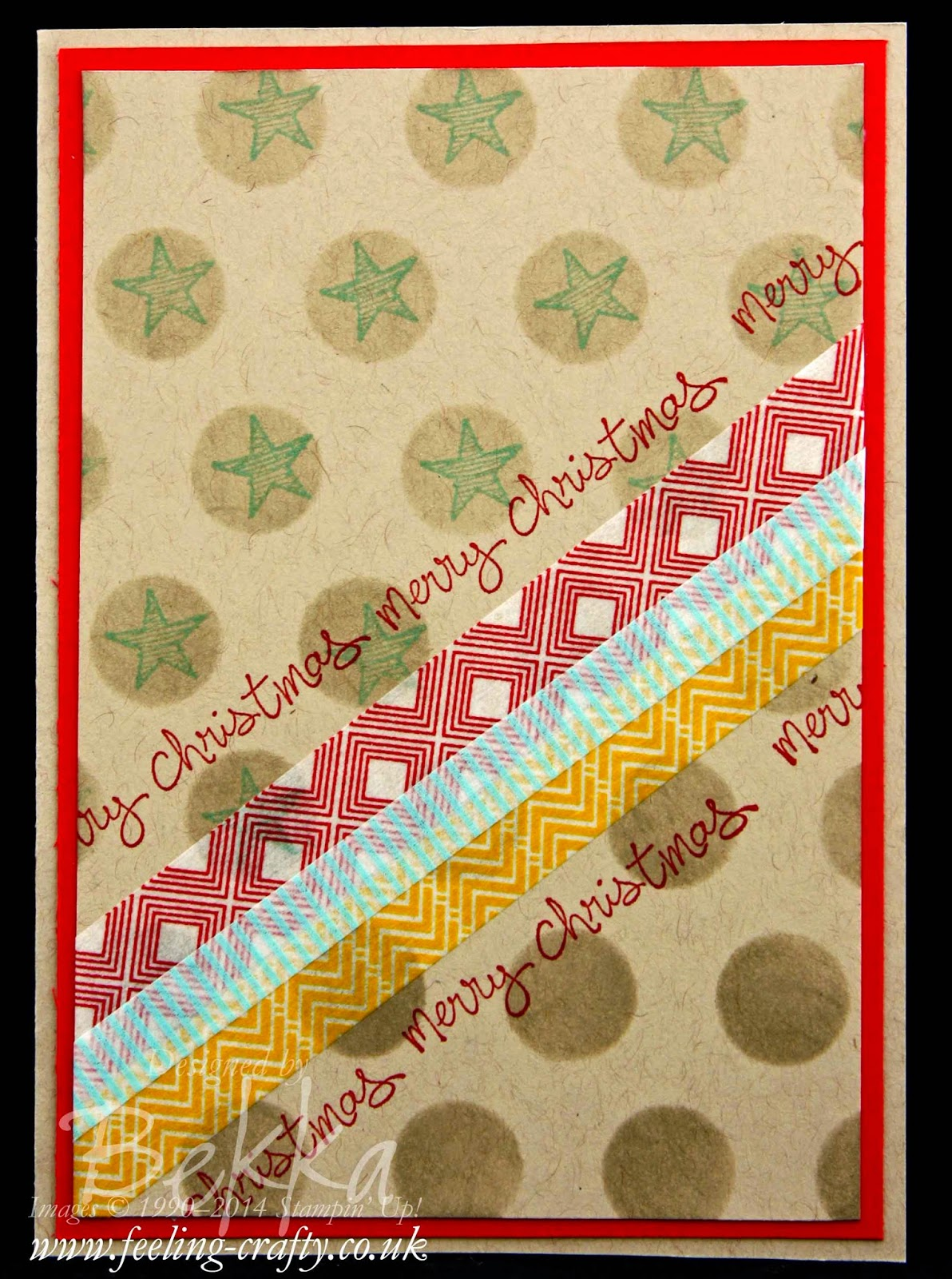 Good Greetings & Beach House Christmas Card by Stampin' Up! UK Independent Demonstrator Bekka Prideaux