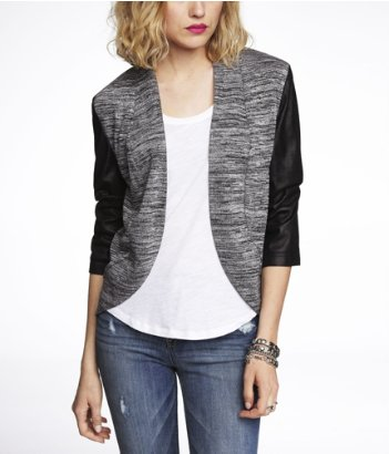 express faux suede sleeve marled jacket, marl cover up