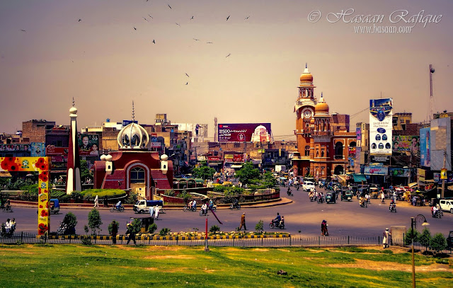 A view of the Chowk Ghanta Ghar (Clock Tower), Multan.