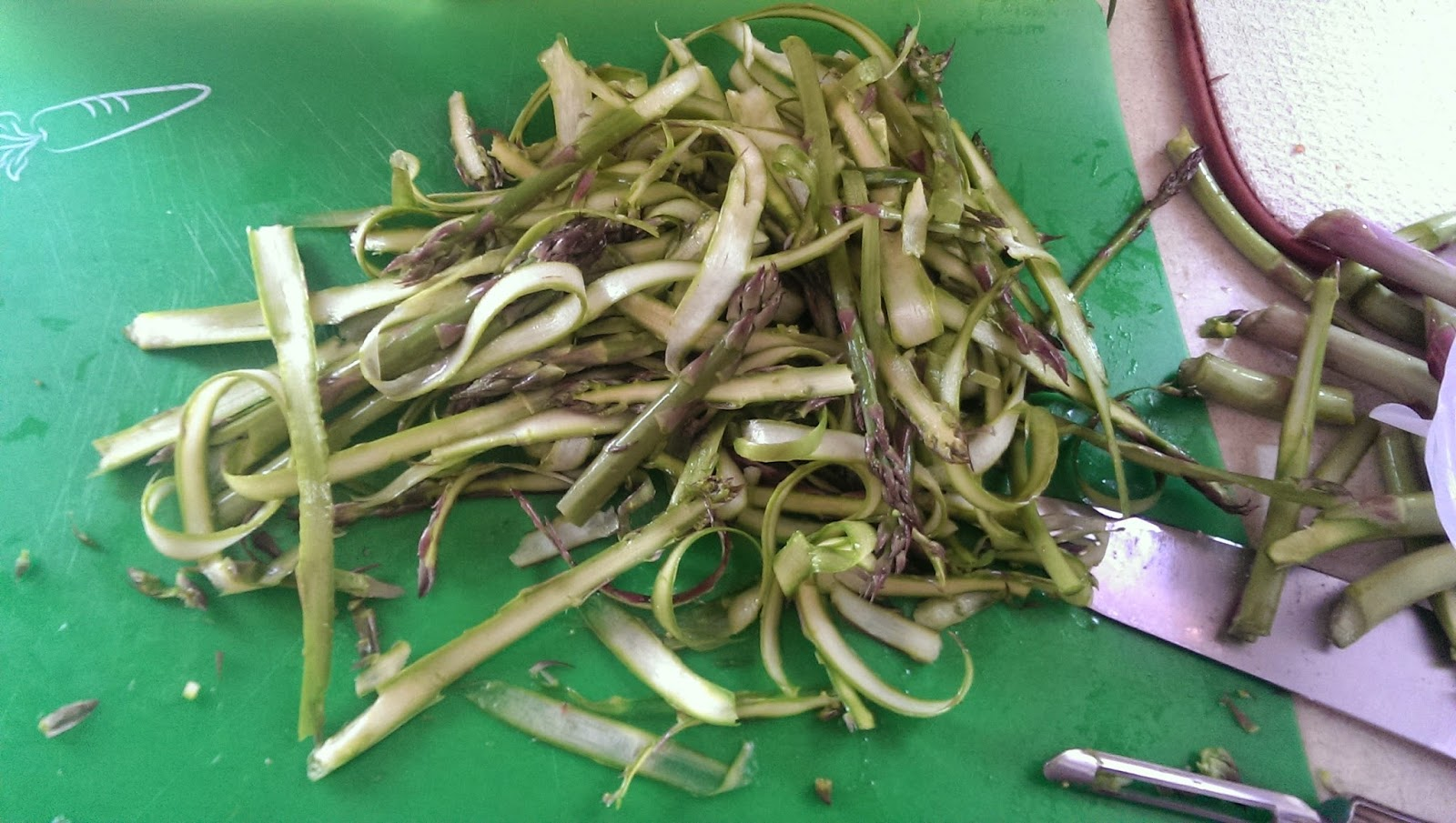 Pile of shaved asparagus