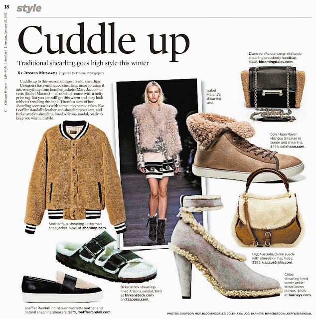 Chicago Tribune Cuddle Up, traditional shearling goes high style this winter by Jessica Moazami
