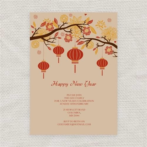 Printable Chinese New Year Invitation Card Design 2016