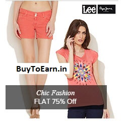 Buy Lee, Pepe Jeans & Wrangler Women's Clothing 75% off + 10% off + Rs. 20 Off
