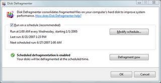 Hard disk defragment with windows Vista