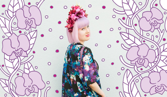 kimono look, flower crown, Quiz Clothing