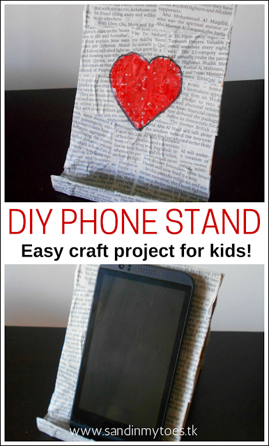 A simple phone stand using recycled material that kids can make for themselves, or as a gift!