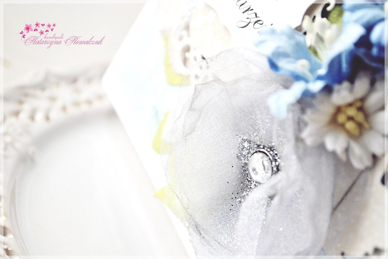 kartka urodzinowa, kwiatowa, kwiat z organzy, scrapbooking
