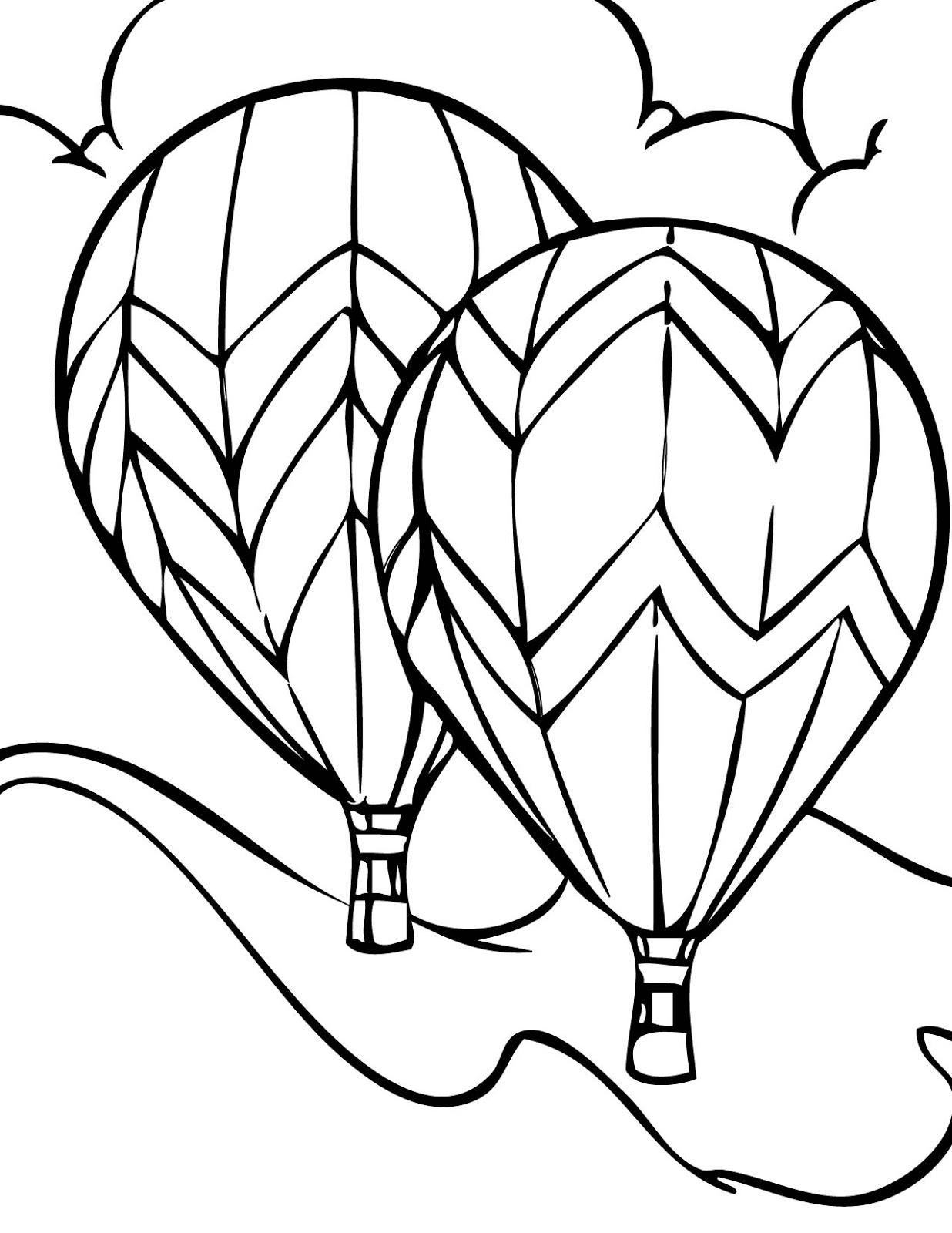 Transportation Coloring Sheets: Hot Air Balloons Coloring Pages