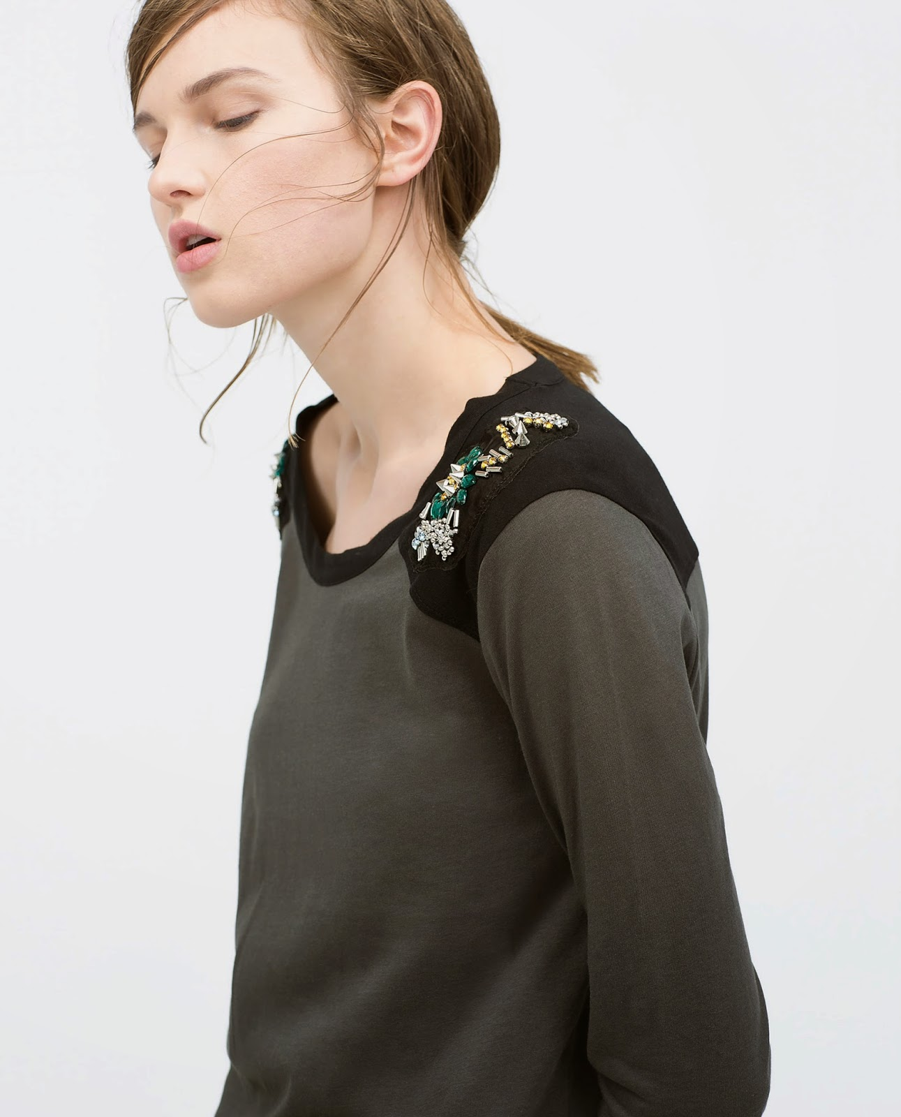 zara top with beaded shoulder,