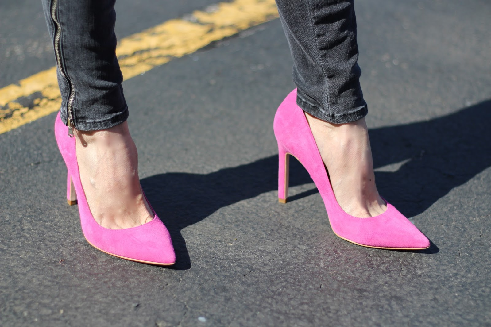 close-up of pink Ivanka Trump pink suede stilettos