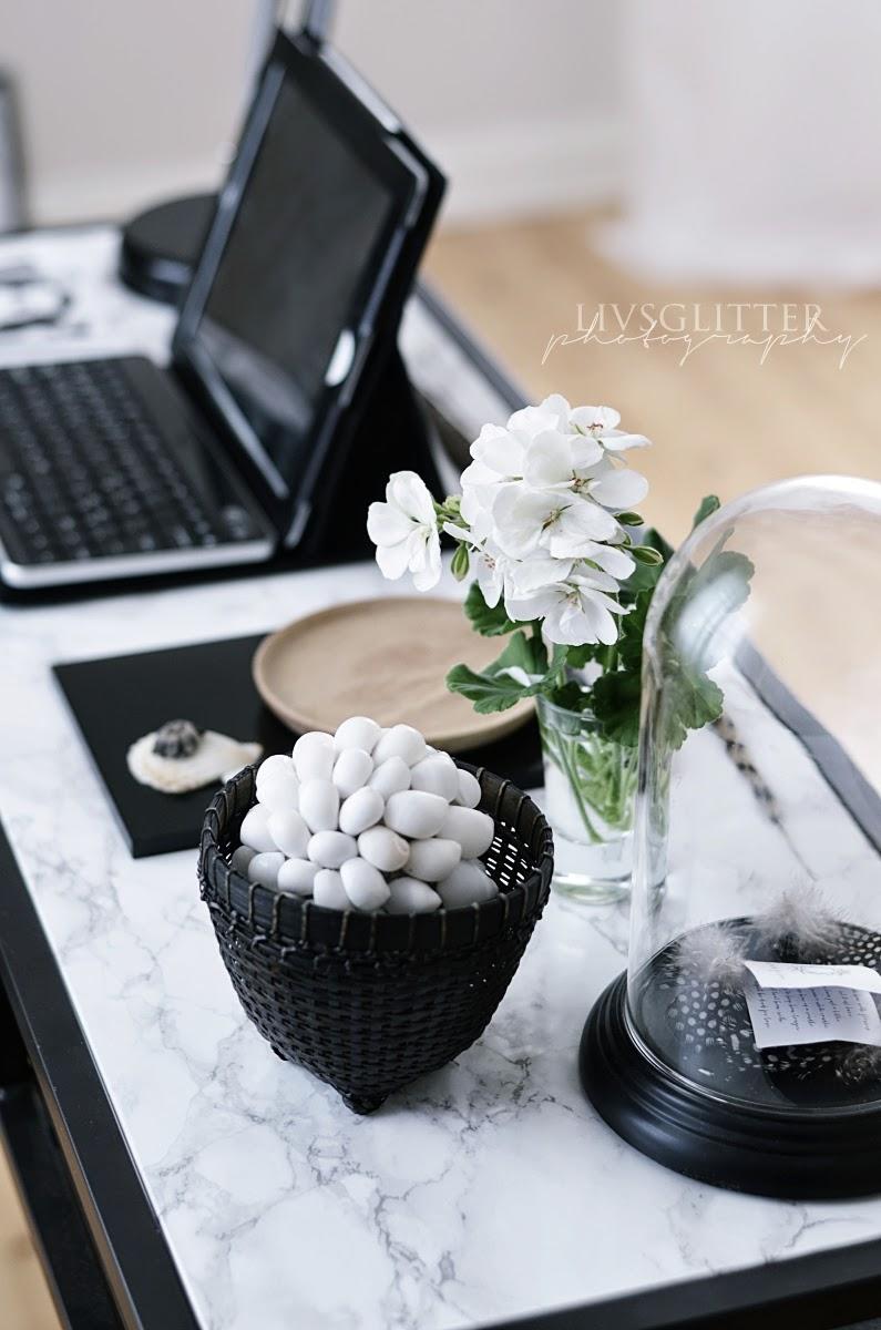 diy, marmor, panduro, ikea, vittsjö, laptopbord, pyssel, inredning, kontor, dekorplast