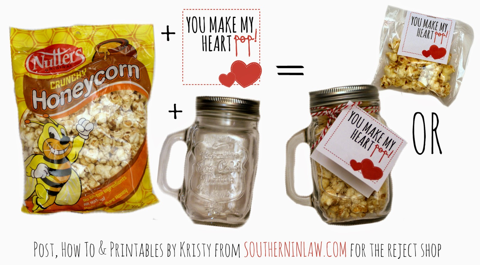 You Make My Heart Pop Popcorn Valentines Gift Idea - Punny Valentines Gift Ideas Free Printable Valentines Cards