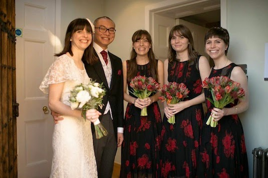 Rachel, groom and bridesmaids