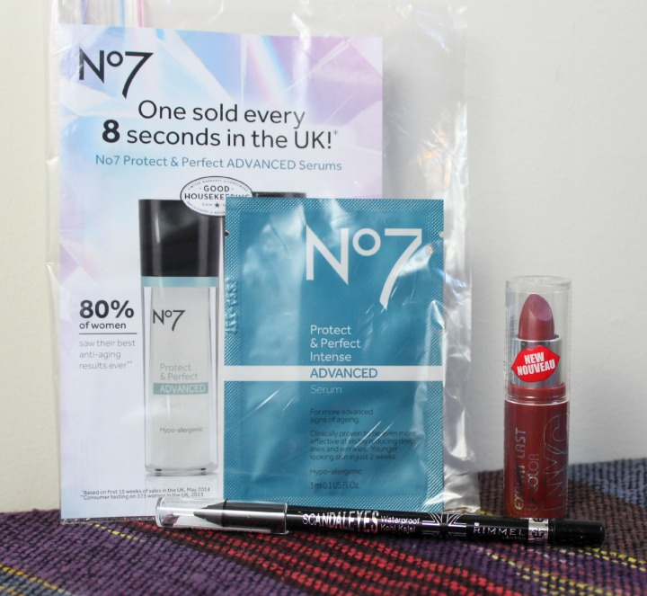 NYC Expert Last Lip Color in Sugar Plum Rimmel Scandaleyes Waterproof Kohl Kajal Eyeliner in Black Boots No7 Protect & Perfect Intense Advanced Serum sample