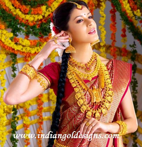 Latest Saree Designs Red South Indian Bridal Silk Saree